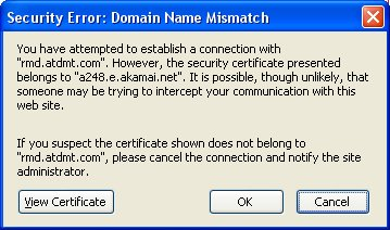 Certificate warning message