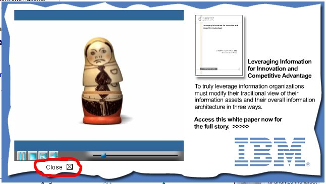 IBM banner ad close button