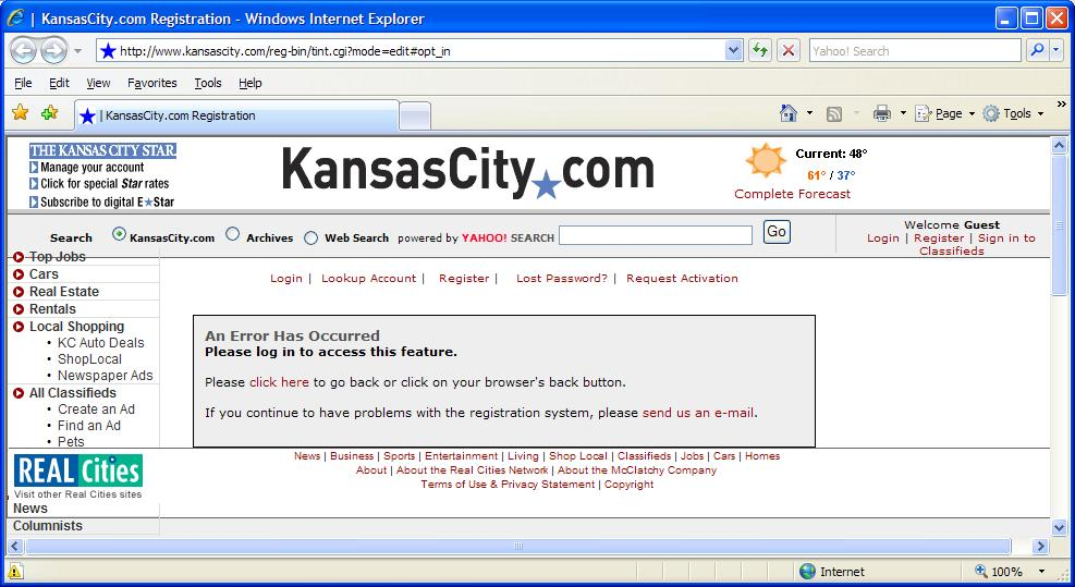 Kansas City Star error page